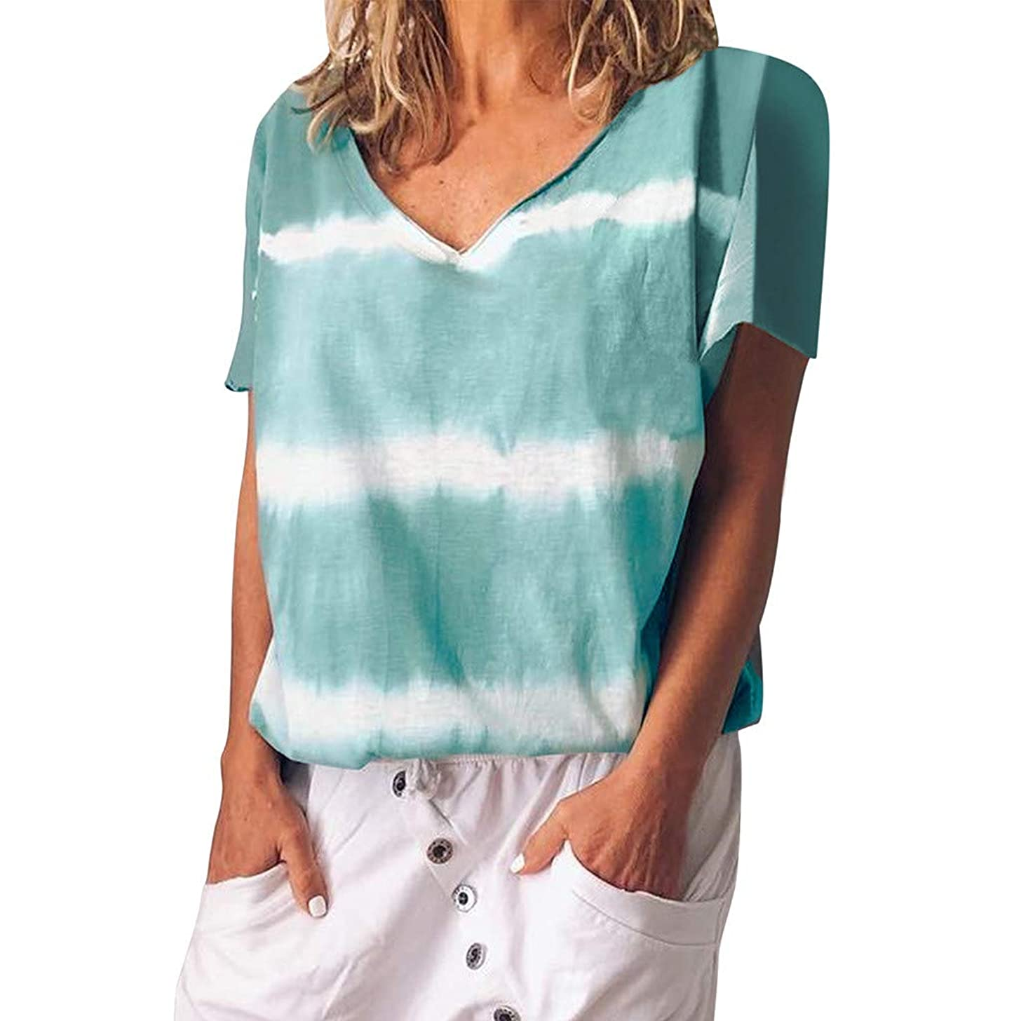 Nadition Casual T-Shirt for Ladies ??? Women Fashion Tie Dyeing Short Sleeve T-Shirt Casual Loose Soft Cotton Tops Blouse