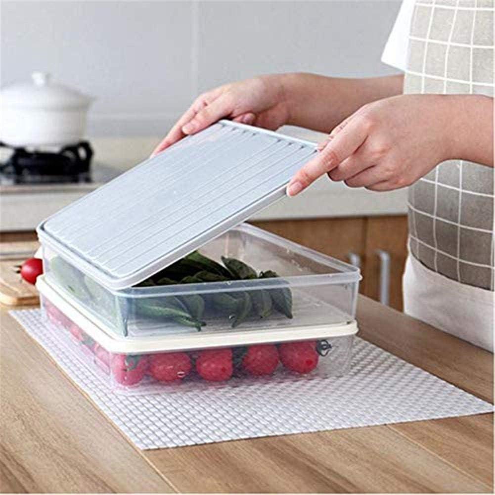 sin BPA apilable para guardar pescado Fiambrera con tapa para frigor/íficos Gris de pl/ástico carne para congelador