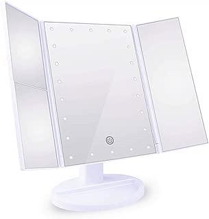 化粧鏡 女優ミラー 三面鏡 Neolly 鏡 led 付き 卓上鏡 化粧ミラー 折りたたみ 明るさ調整可能 2&3倍拡大鏡付 180 °回転 電池&USB 2WAY給電 ホワイト