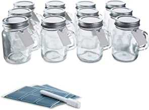 Glass Favor Jars with Lids and Handles 3.4oz - Mini Mason Jar Favors Bottles with Chalkboard Labels, Chalk Pen, Personalized Tags and String - [12pc Bulk Set] Spices, Candy