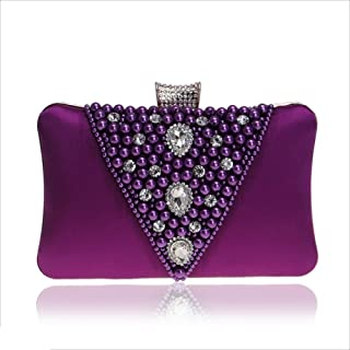 DIEBELLAU Ladies Dinner Female Bag Beaded Banquet Bag Clutch Bag Evening Dress Bag (Color : Purple, Size : XS)