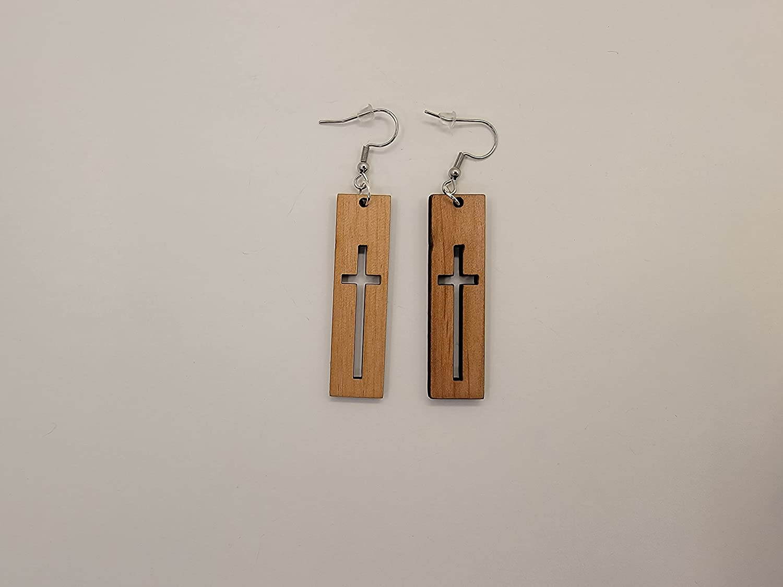 Cross Design 2 Laser Cut Popular product Alder Wood Earrings Satin Hook Outlet SALE Style