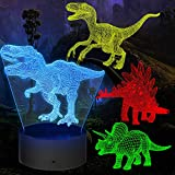 3D Dinosaur Night Light 4 Pieces 3D Dinosaur Lamp Toy with 16 Color Changes and Remote Control, Gifts for Boys from 3 4 5 6+ Years
