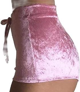 Women's Slim Fit Bodycon Velour Club Wear Mini High Waisted Hot Short