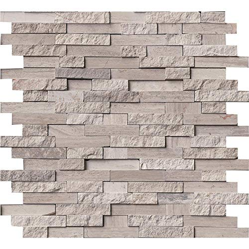 White Quarry Splitface 12 in. x 12 in. x 10 mm Marble Mesh-Mounted Mosaic Tile