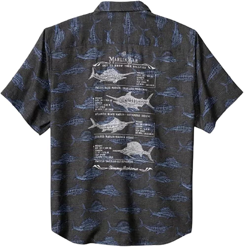 Tommy Bahama Embroidered Artist Series Billfish Billboard Silk Camp Shirt