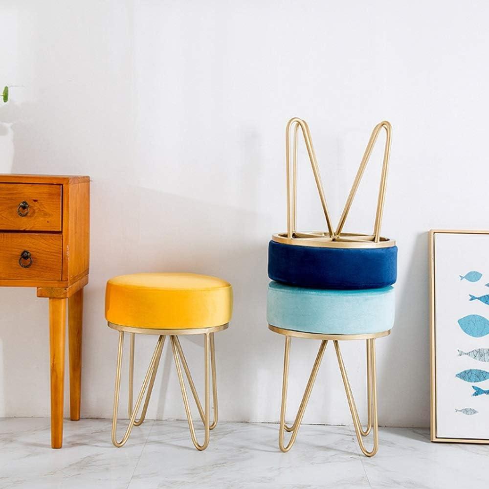 Changement de banc à chaussures Support en métal rond en flanelle tapissé Chaise de salon Balcon Chambre Tabouret Tabouret Dressing Tabouret, 35 * 46cm (Color : A) F