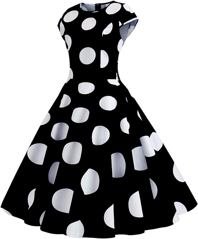 Women's Boatneck Sleeveless Swing Vintage 1950s Cocktail Dress Retro Dress for Curvy Plus Size Sexy Polka Dot Dress