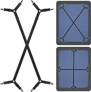ZHOUBIN Bed Sheet Fasteners Suspenders Holder Straps-2 Pcs Adjustable Crisscross Bed Sheet Holder Straps for All Bedsheets...