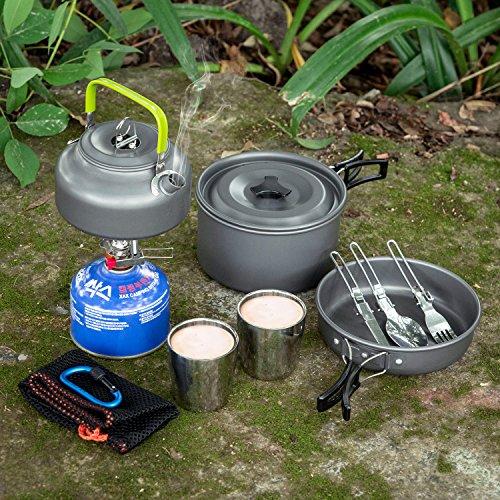 Odoland Kit de Utensilios Cocina Camping, Juego de Olla para Acampada con 800 ml Hervidor de Camping, 1.9 L Olla, 800 ml Sartén, 2 Tazas, Cubierto Camping