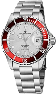 Revue Thommen Mens Automatic Diver Watch - 42mm Analog Silver Face Diving Watch with Luminous Hands, Date and Sapphire Crystal - Stainless Steel Metal Band Swiss Made Waterproof Dive Watch 17571.2126