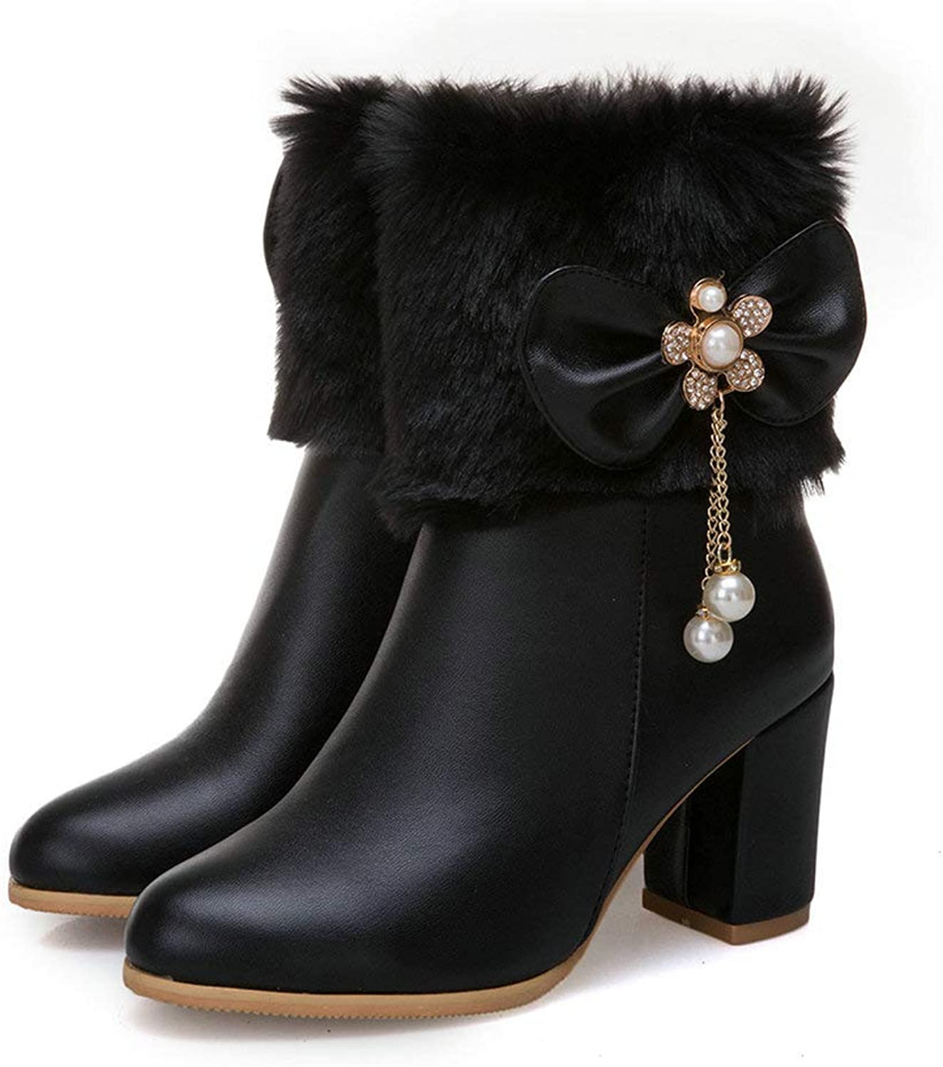 AnMengXinLing Women Ankle Boot Block High Heel Fashion Rhinestone Bows Leather Round Toe Fur Lining Snow Booties Winter White Black