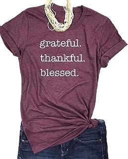Grateful Thankful Blessed T-Shirt Women Short Sleeve O-Neck Thanksgiving Shirt Tees