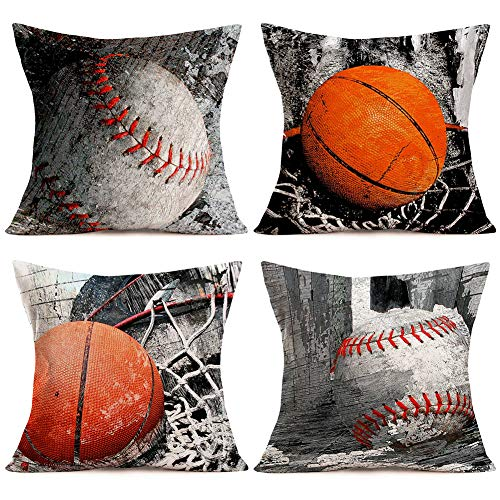 Doitely Vintage Basketball and Softball Set Decorative Throw Pillow Covers Cases Size 18'x18' Cotton Linen Standard Pillowcase Sport Club Team Men Gifts Home Car Decor 4 Pack