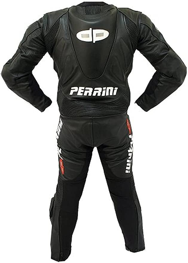 1pc Perrini Fusion Motorcycle Riding Racing Leather Suit w// Padding /& Hump Black