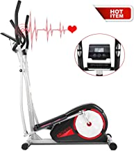 ANCHEER Elliptical Machine Trainer Indoor Eliptical Compact Exercise Equipment with Digital Monitor and Pulse Rate Grips for Home/Office/Gym Workout