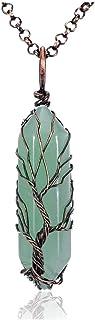 PESOENTH Clear Quartz Tree of Life Crystal Healing Pendant Necklace Vintage Bronze Wire Wrapped Gemstone Quartz Point Chak...