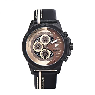 T5 H3585G-B Two-Tone Leather Round Analog Watch for Men - Black