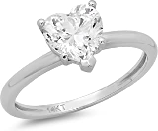 Clara Pucci 1.30 CT Heart Shaped Brilliant Cut Simulated Diamond CZ Solitaire Engagement Ring Real 14K White Gold