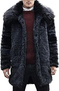 Men/'s Faux Fur Overcoat Cashmere Outwear Fur Collar Business Jacket S-6XL Parkas