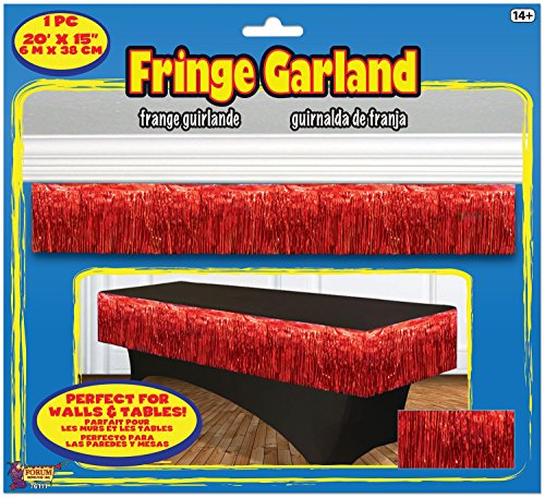 Forum Novelties Party Supplies Tinsel Fringe Garland, 20' x 15', Red