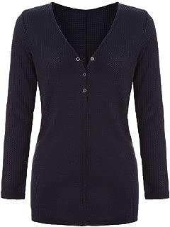 Zantt Womens V Neck Fashion Shirt Loose Buttons Long Sleeve Waffle Tee Blouse Top