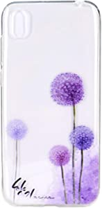 Reevermap for Huawei 2019 Case Clear Protective Flexible Soft Slim TPU Silicone Rubber Cover for Huawei 2019  Purple Dandelion