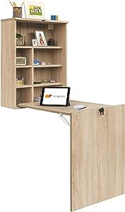 COMIFORT tc82–Bureau de Murale Pliable, Table inclinable Pendentif sur Pied convertisseur, Blanc ou chêne