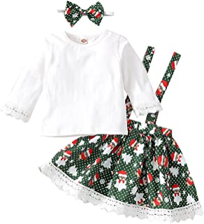 Little Girl 's Christmas Suspender Skirt Outfits Santa Cute Printed Long Sleeve Tops + A-line Suspender Skirt
