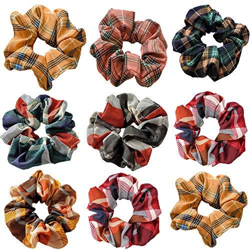 9 coleteros elásticos para el pelo para mujer, estilo a cuadros, para el pelo, para niñas y niñas, con 7 colores, adornos de moda, accesorios, diademas para el pelo