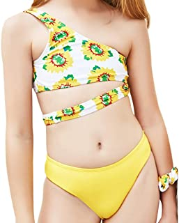 Girls Two Piece Sport Halter Bikini Swimsuit Ruffles Sunflower Printed Swimwear Quick Dry Bathing Suit Set Beachwear