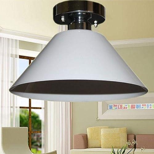 BOSSLV Plafonnier Blanc 1-Lumières Lampe Acrylique Fer Métal Plafonnier Salon Chambre étude de Cuisine élégante Décoration Plafond éclairage Lampe 25 cm  H15Cm E27 Max.60W