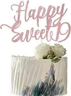 YUINYO Happy Sweet 19 Cake Topper -Cheers to 19 Year - Happy 19th Birthday Cake Topper- Sweet Nineteen /19th Wedding Anniv...