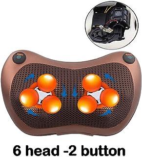 マッサージ枕 3D マッサージャー マッサージピロー マッサージクッション ヒーター付き 首・肩・腰・背中・太もも 肩こり ストレス解消 家庭用&職場用&車用 温熱療法 6head-2button