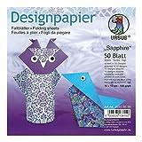 Ursus 22835599F Diseño Papel Sapphire, 50Hojas, 15x 15cm, Ambos Lados, Multicolor