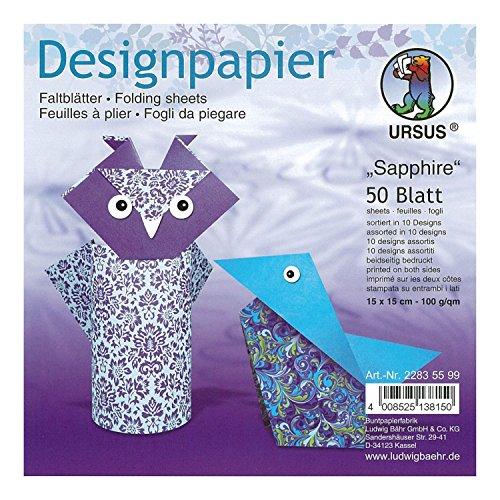 Ursus 22835599F Designpapier Sapphire, 50 Blatt, 15 x 15 cm, beidseitig Bedruckt, bunt