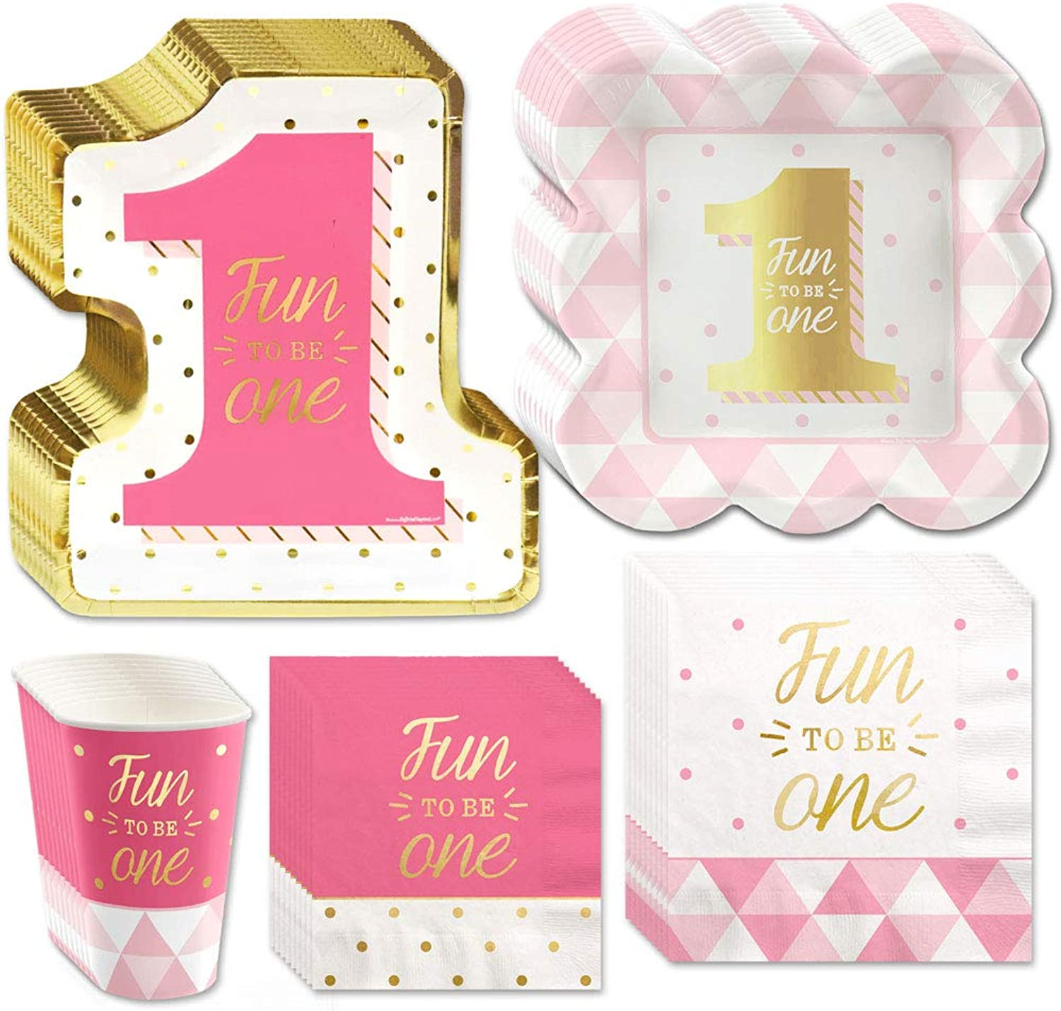 Big Dot of Happiness Fun to be One - 1st Birthday Girl with gold Foil - Party Tableware Plates, Cups, Napkins - Bundle for 32