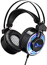 Ombar Gaming Headset for Xbox One with 7.1 Surround Sound Stereo, PS4 Headset with Mic & LED Light, Compatible with PC, Laptop, PS4, Xbox One Controller, Nintendo and More