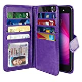 NEXTKIN Case Compatible with LG X Power 2 LV7 M320 5.5 inch, Dual Wallet Folio TPU Cover Large Pockets Double Flap, Multi Card Slots Button Strap for LG X Power 2 LV7 (NOT FIT LG X Power) - Purple