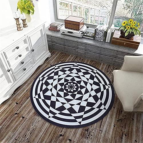 Kunsen alfombras Comedor habitacion Juvenil Alfombra Blanca Negra Alfombra Redonda Abstracta Moderna para el Piso de la Sala de Estar alfombras a Medida Online 160X160CM 5ft 3' X5ft 3'