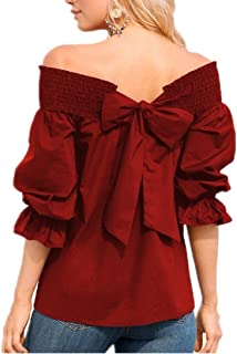 lotus.flower 2018 Women Off Shoulder Bardot T-shirts Top Puff Sleeve Bow Bandage Blouse (M, Red)