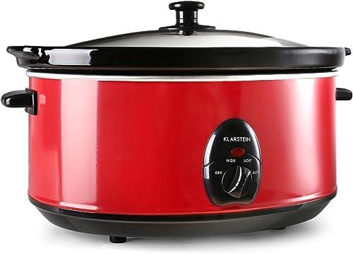 Klarstein Bristol 65 Mijoteuse electrique (6,5 L, 300W, 2 températures, céramique lavable, méthode Schongar, alimenta...