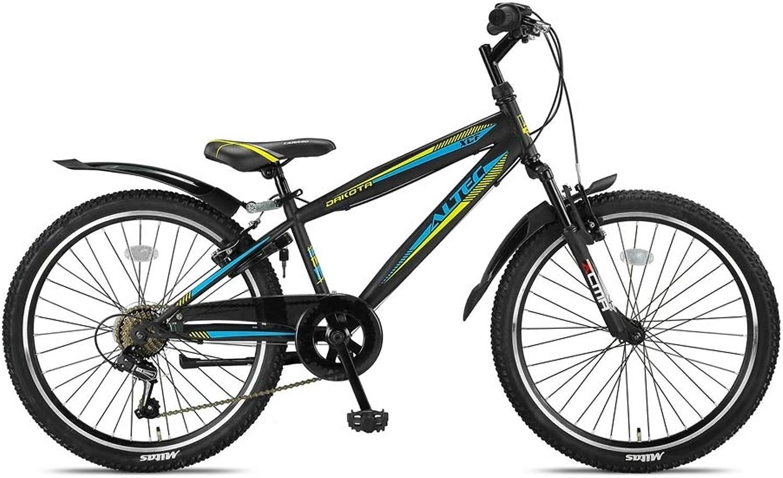Altec Kinderfahrrad Jungen Dakota 24 Zoll mit Vorradbremse am Lenker Shimano 7-Gang-Getriebe Schwarz Gelb 85% Zusammengebaut