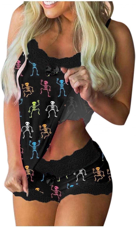 Women's Casual Halloween Pajamas Set,Sleeveless Cami Shorts Lingerie Butterfly Print Sleepwear Set