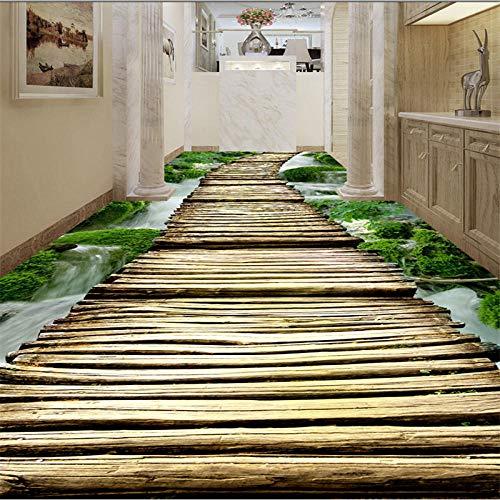 Grote gebruikergedefinieerd vloerbedekking Creek houten brug badkamer gang 3D woonkamer badkamer vloertegels schilderij zelfklevend PVC 250cm(L) x180cm(W)