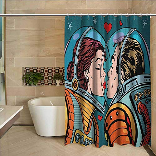 Love Odorless Waterproof Shower Curtain Space Man and Woman Valentines Kissing Science Cosmos Couple Pop Art Design Print Large Home Decoration W108 x L70 Inch Multicolor