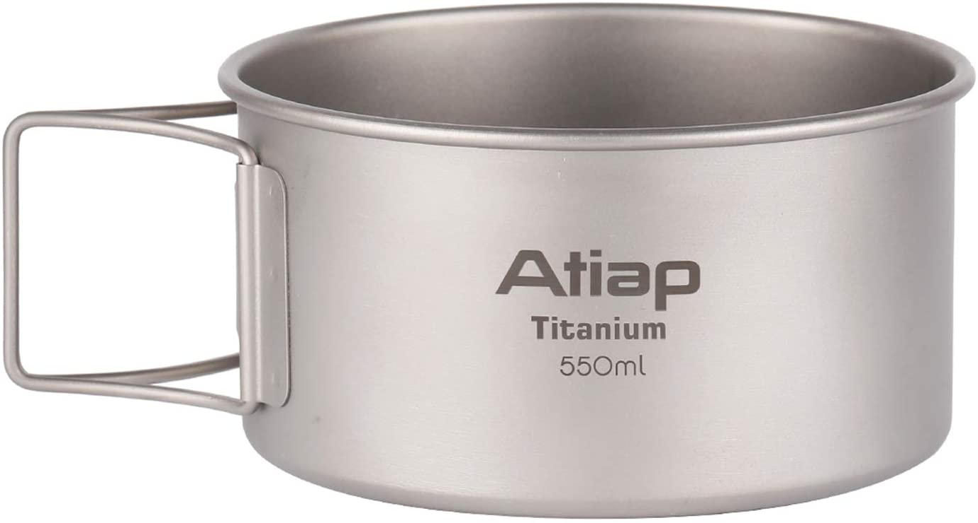 price Baltimore Mall ATiAP Titanium Bowl Pot with Handle Foldable Titani Single-Wall