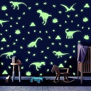 IARTTOP Luminous Dinosaurs Wall Decal, Creative Glowing Dinosaur Theme Footprints Volcano Wall Sticker for Baby Bedroom Nursery Kids Room Decoration