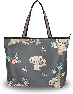 Große Umhängetasche Koala und Blumen Handtasche mit Reißverschluss Strandtaschen