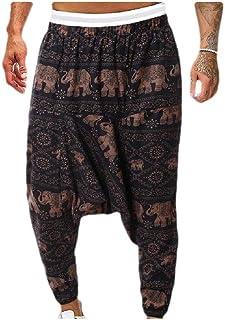 VividYou Mens Plus-Size Print Color Block Linen Mid-Rise Slim Fitted Sports Pants
